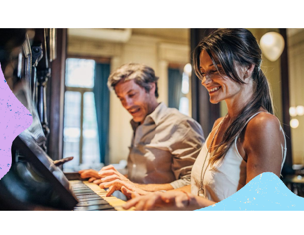 Christian couple playing the piano