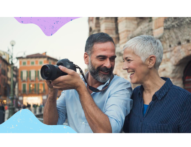 Christian couple on holiday with camera