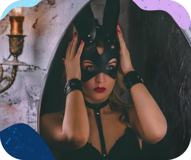 kink girl with leather bunny mask and handcuffs